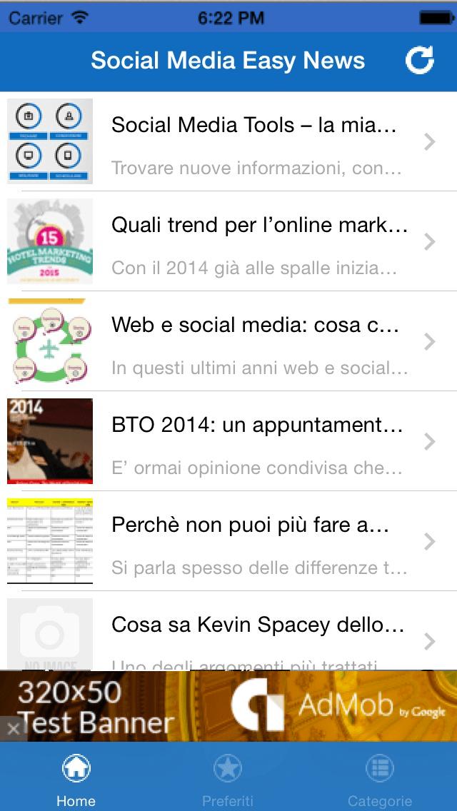 Screenshot della App Social Media Easy News