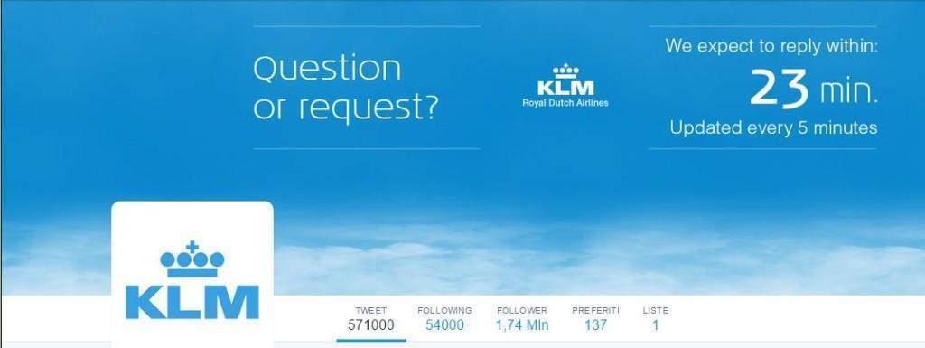 KLM aggiorna in tempo reale su Twitter il tempo di risposta atteso per il Customer Service