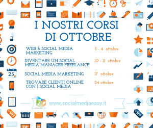 corsi social media marketing ottobre 2018