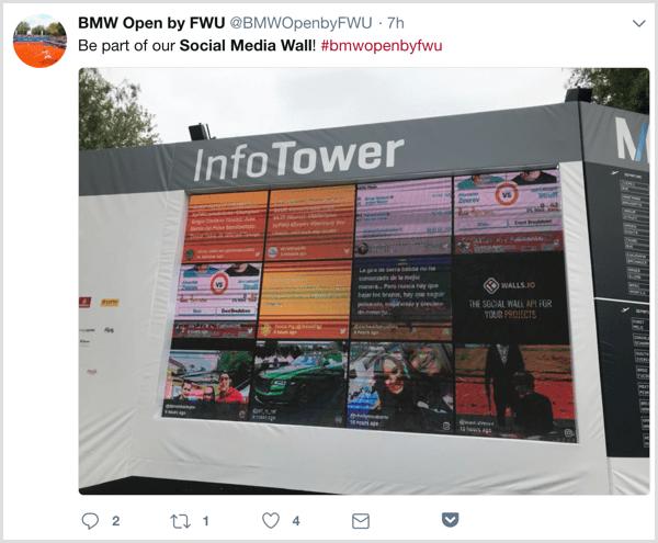 promuovere evento social media: social media wall