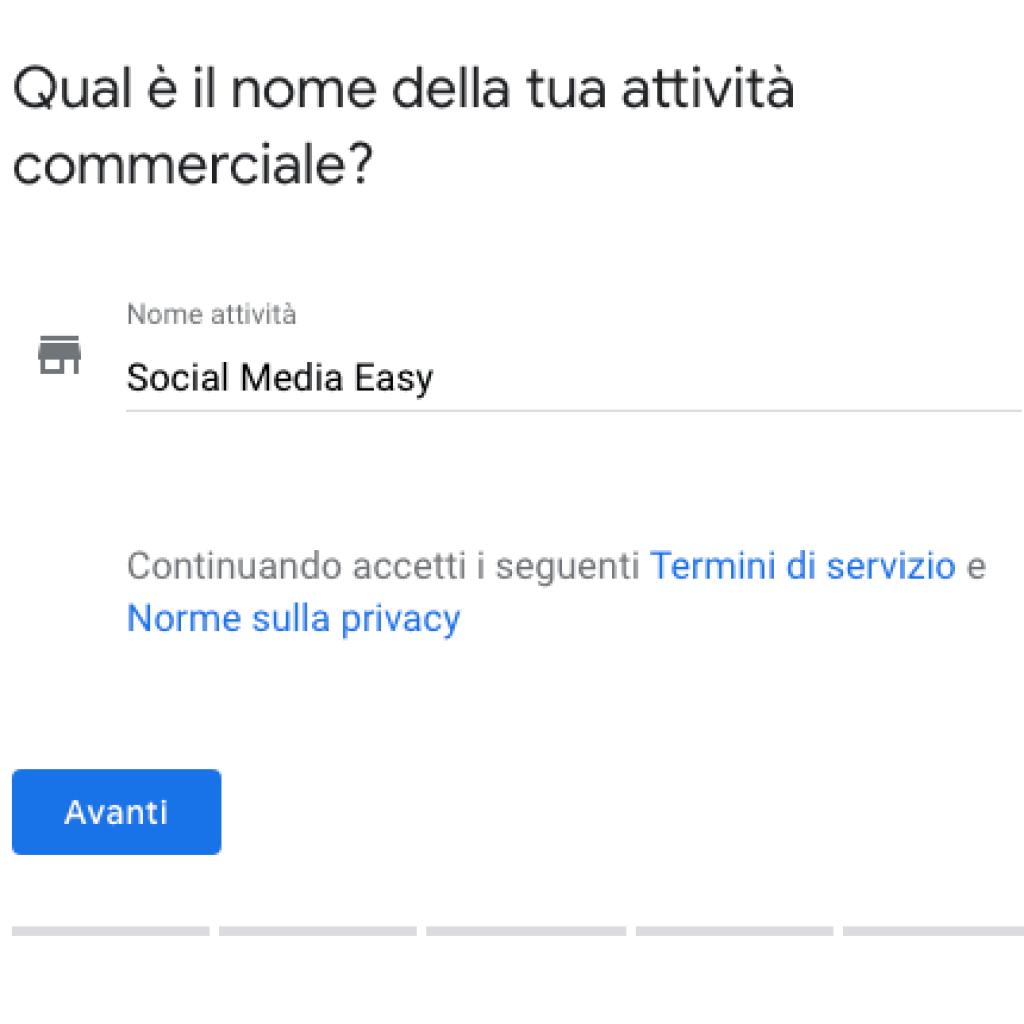 guida google my business: nome attività