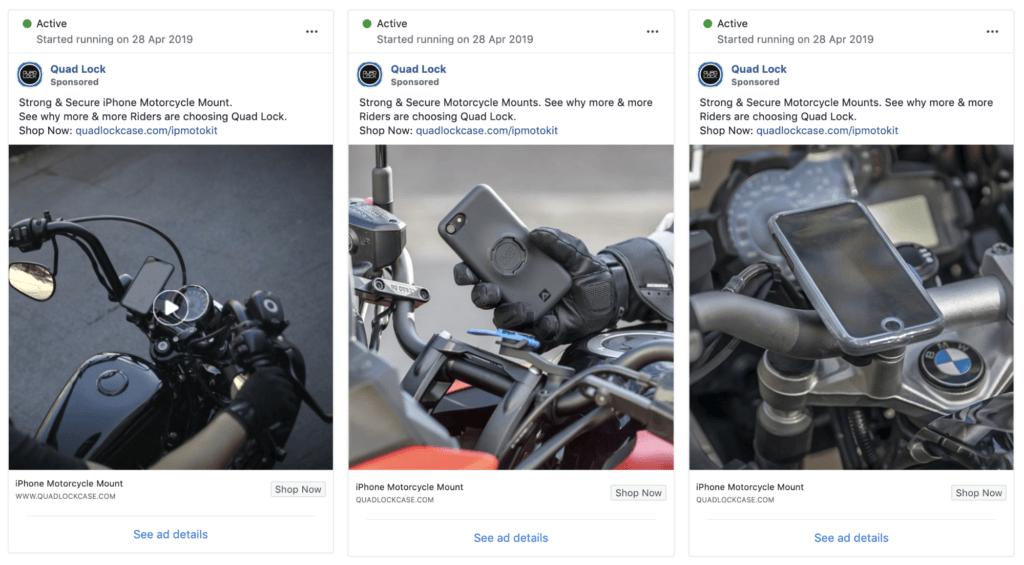 Esempio pubblicità Facebook Ads: Quad Lock