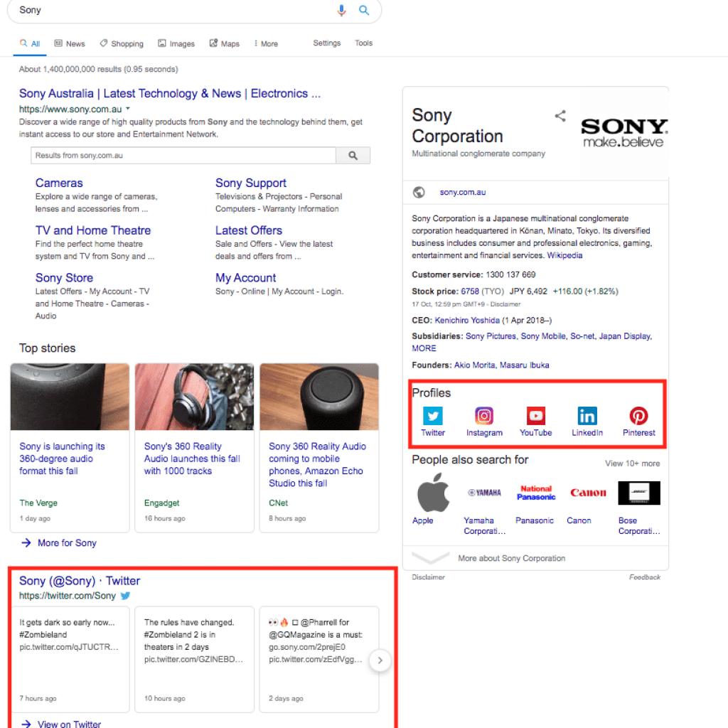 relazione social media SEO - risultati ricerca google