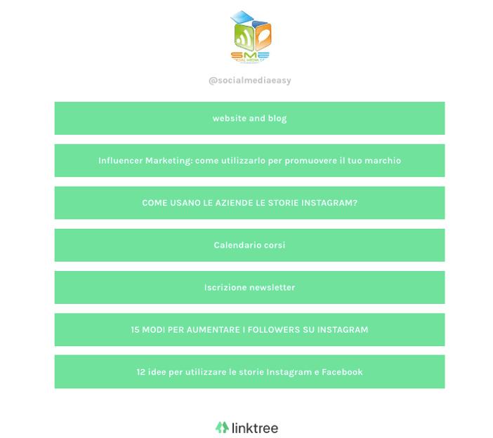 Ottimizzare profilo Instagram - servizio linktr.ee